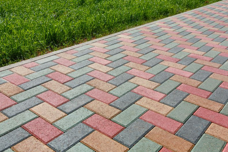 colorful brick pavers installed on patio at home in Columbia